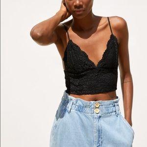 Zara black cropped lace top